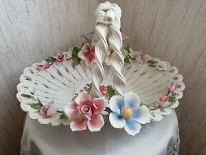 Korb aus Keramik mit Blumen Blüten verziert Italy
