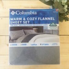 Columbia Flannel Sheet Set Gray Queen 100% Cotton 4 Piece Set
