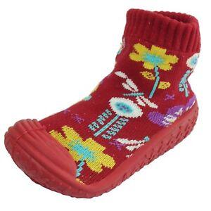 Infant Baby Girls Flowers Anti-slip Rubber First Walking Sock Shoes