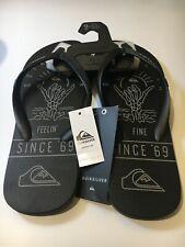 QUIKSILVER Thongs Black Size 9 Men Molokai No Worries Flip Flops Sandals NEW