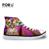 Floral Cute Cat High Top Lace Up Trainers Canvas Shoes Soft Light Size UK2-8