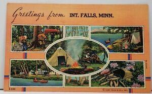 MN Greetings from International Falls Minnesota Curt Teich Postcard H6