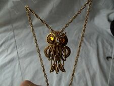 Vintage OWL NECKLACE Gold chain rhinestone tremblant sectional signed HMS