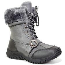 Kids Boys Girls Wellies Fur Wellington BOOTS Rainy Snow Boot Fleece Size 10-2 UK Grey UK 13 / EU 31