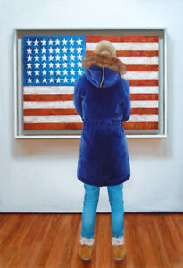 "American Flag 29x19"" realism looking at painting museum Jasper Johns G. Boersma"