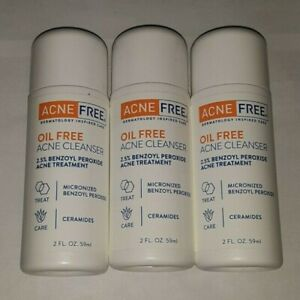 3 bottles ACNEFREE OIL FREE ACNE CLEANSER TREATMENT 2.5% BENZOYL PEROXIDE MAR
