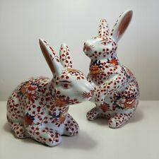 More details for antique japanese pair of ceramic imari rabbits - early 20th century, floral, red