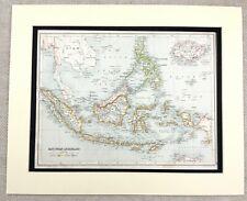 1899 Antique Map of East Indian Archipelago Philippines 19th Century Original