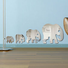 3D Acrylic Mirror DIY Wall Decal Mural Decor Vinyl Art Stickers Elephant Silver