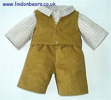 """3 PCE OUTFITS WAISTCOAT-TROUSERS-SHIRT FITS TEDDY BEARS 16""""/40CM TALL MADE IN UK"""