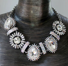 Butler and Wilson 5 Big Stone ClearAB Crystal Art Deco Style Collar Necklace NEW
