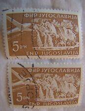 Yugoslavia Stamp 1951 Scott C50 AP16  Airmail 5 Din Set of 2