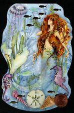 Mermaid Seahorse Shells Fish Starfish Gold Shine Small Blank Greeting Note Card