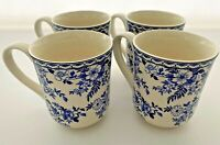 Johnson Brothers Devon Cottage Set of Four Coffee Mugs, Blue and White Mugs