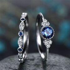 Elegant Woman Round Cut Sapphire Wedding Ring Set 925 Silver Jewelry Size 6-10