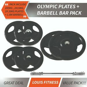 AU Package 5cm Rubber Coated 5KG/15KG/20KG Olympic Weight Plates Plus 1.8M Bar