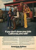 1973 Print Ad of American Airlines Universal Studios Stunt Show California
