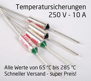 Thermosicherung Temperatursicherung Sicherung 250V 10A von 65 bis 300 °C [#1211]