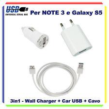 KIT CARICABATTERIE CARICA BATTERIA 3 IN 1 AUTO CASA USB X SAMSUNG  NOTE 3 N9000