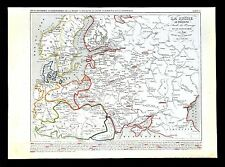 1849 Houze Map - Russia Poland Sweden Denmark Germany Prussia Austria - Europe