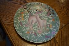 """Vintage CHINA TRADER Porcelain 2 Deer 15"""" Charger Plate Hand Painted & Decorated"""