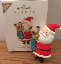 Hallmark STOCKING STUFFER Santa & Puppy Dog Christmas Ornament w/Box 2012