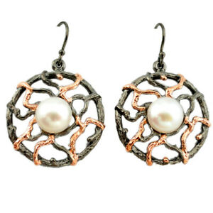 Natural White Pearl Black Rhodium 925 Silver Rose Gold Earrings A70736 C24222