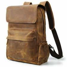 "Men Real Leather Backpack Large Travel Hiking 15.6"" Laptop Daypack Work Satchel"