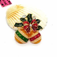 Bells Crystal Charm Brooch Pin Hot Betsey Johnson Lovely Rhinestone Christmas