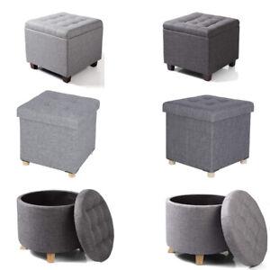 Sitztruhe Sitzhocker Fußhocker mit Stauraum und Deckel mit Holzfüßen, Platz/Rund