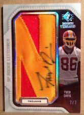 Fred Davis 2008 UD SP ROOKIE LETTERMEN Redskins Certified Autographed Card 7/7
