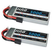 2x HRB 3S 11.1V RC Lipo Battery 5000mAh 50C 100C for Traxxas 1/10 Slash FPV Boat