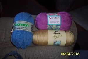 KNITTING CROCHET LOT MIXED COLORS + BRANDS BERNAT SHANNON CANNON NEW USED