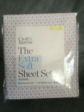 Croft & Barrow The Extra Soft Sheet Set Microfiber King Gray Lattice - New