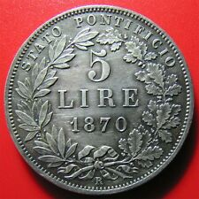 1870 VATICAN 5 LIRE SILVER PIUS IX ROME XXV-R RARE PAPAL ITALIAN STATES OLD COIN