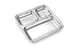 3 Compartment thali food serving steel thali Masala Dosa Wada Pav serving Tray