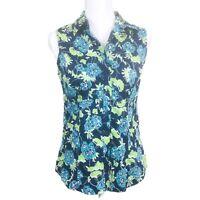 Ann Taylor Floral Print Sleeveless Button Front Shirt Blouse Women's Size 6