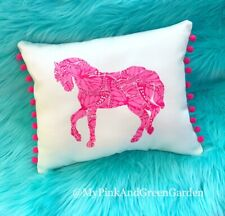 Sale! New Horse pillow made with LILLY PULITZER Pink Smooches fabric