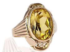 Art Deco Herren Damen 333 Gelb Gold 7 ct Sommer Citrin Ring antik