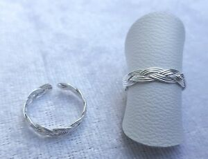 Adjustable Sterling Silver Braid Toe/Pinky/Finger Ring 925 - 170A7