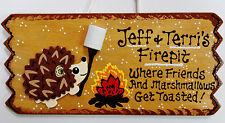 Personalize HEDGEHOG FIREPIT Name SIGN Fire Pit Backyard Deck Camp Patio Plaque