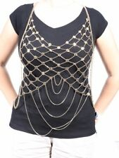 Bebe Body Jewelry Fringed Draped Gold Chain TROY3466