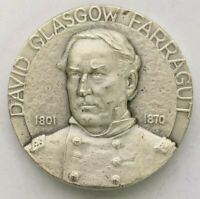 Vtg Medallic Art Co NY David Farragut HoF Civil War Officer 999 Silver Medal