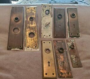VINTAGE VARIETY LOT OF EIGHT METAL DOOR KNOB BACKPLATES