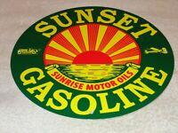 """VINTAGE SUNSET GASOLINE SUNRISE MOTOR OIL 11 3/4"""" PORCELAIN METAL CAR PLANE SIGN"""