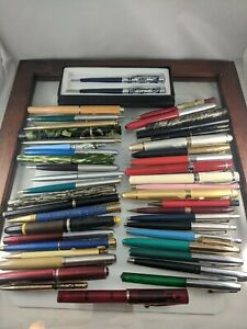 Huge Lot Estate Collection Vtg Ballpoint & Fountain Pens Pencils 45pc As Shown