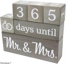 Wedding Countdown Calendar Wooden Blocks Engagement Bride Groom Decor New