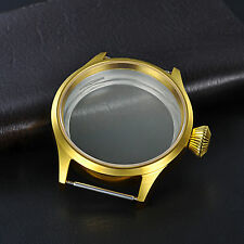 glass fit 6498 6497 eat movement 2 43mm golden plated parnis Watch Case sapphire