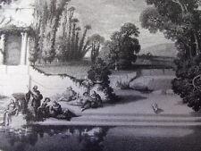 """Gravure XIXe """" IL DOLCE FAR NIENTE """"  gravure originale J.Caut 30x20 1860"""