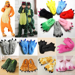 Adult Kids Monster Feet Winter Slippers Claw Dinosaur Paw Plush Stuffed Shoes